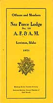 Thumbnail image of Nez Perce Lodge No. 10 A.F. & A.M. cover