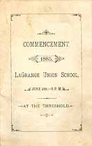 Thumbnail image of LaGrange Union School 1885 Commencement cover