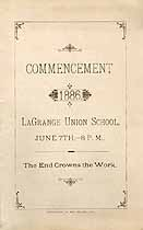 Thumbnail image of LaGrange Union School 1886 Commencement cover
