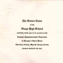 Thumbnail image of Osage High 1909 Commencement cover