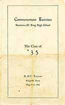 Thumbnail image of H. M. King High 1935 Commencement cover