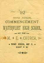 Thumbnail image of Watervliet High School 1892 Commencement cover