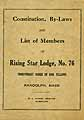 Thumbnail image of Rising Star Lodge I.O.O.F. 1912 By-Laws cover