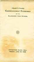 Thumbnail image of Allegheny High School 1922 Commencement cover