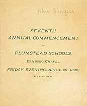 Thumbnail image of Plumstead Schools 1898 Commencement cover