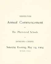 Thumbnail image of Plumstead Schools 1904 Commencement cover