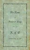 Thumbnail image of Hanover Lodge, No. 318, K. of P. 1930 By-Laws cover