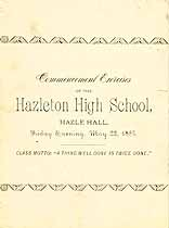 Thumbnail image of Hazleton High School 1885 Commencement cover