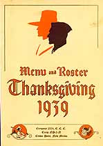 Thumbnail image of Crown Point C.C.C. Co. 2354 1939 Thanksgiving Menu cover