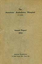 Thumbnail image of American Ambulance Hospital 1916 Report cover