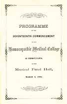 Thumbnail image of Homoeopathic Medical College 1865 Commencement cover