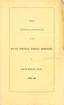 Thumbnail image of Mt. Holyoke Female Seminary 1845 Catalogue cover