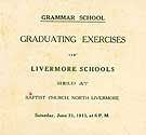 Thumbnail image of Livermore Schools 1913 Graduating Exercises cover