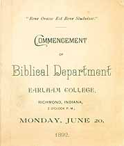 Thumbnail image of Earlham College Biblical Dept. 1892 Commencement cover