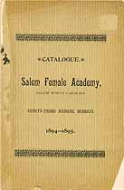 Thumbnail image of Salem Female Academy 1894-95 Catalogue cover