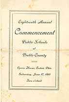 Thumbnail image of Preble County Public Schools 1911 Commencement cover