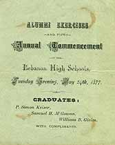 Thumbnail image of Lebanon High Schools 1877 Commencement and Alumni Exercises cover