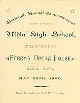 Thumbnail image of Albia School 1890 Commencement cover