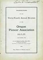 Thumbnail image of Oregon Pioneer Association 1906 Reunion cover