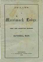 Thumbnail image of Merrimack Lodge, F. & A. M. 1867 By-Laws cover