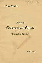 Thumbnail image of Bennington Second Congregational Church 1893 Year Book cover