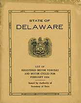 Thumbnail image of Delaware Registered Vehicles February 1924 cover