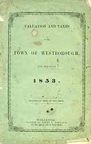 Thumbnail image of Westborough, Mass. 1853 Tax Records cover