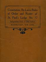 Thumbnail image of St. Paul's Lodge, No. 17, I. O. O. F. 1908 Membership List cover