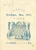 Thumbnail image of Clarion Lodge, No. 277, List of Members for 1886 cover