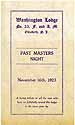 Thumbnail image of Washington Lodge, No. 33, Past Masters Night cover