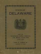 Thumbnail image of Delaware Registered Vehicles June 1924 cover