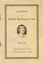 Thumbnail image of Martha Washington Club 1926-1927 Year Book cover