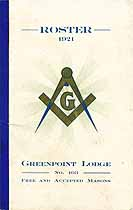 Thumbnail image of Greenpoint Lodge, No. 403, Roster of 1921 Members cover