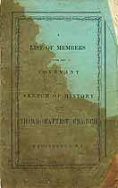 Thumbnail image of Providence Third Baptist Church 1855 Members cover