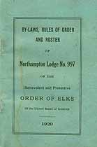 Thumbnail image of Northampton Elks Lodge, No. 997, Roster of 1920 Members cover