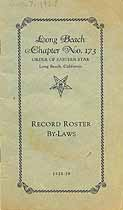 Thumbnail image of Long Beach Chapter No. 173 O. E. S. 1928-29 Roster cover