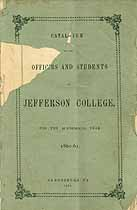 Thumbnail image of Jefferson College 1861 Catalogue cover