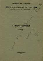 Thumbnail image of Hastings Law College 1911-1912 Announcement cover