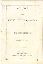 Thumbnail image of Belles Lettres Society 1847 Catalogue cover