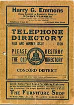 Thumbnail image of Concord District 1920 Fall/Winter Telephone Directory cover