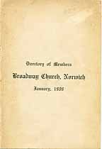 Thumbnail image of Broadway Church Directory of 1909 Members cover