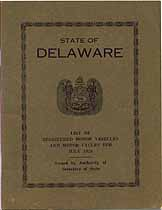 Thumbnail image of Delaware Registered Vehicles July 1924 cover