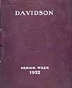 Thumbnail image of Davidson College 1922 Senior Week Program cover