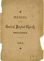 Thumbnail image of Providence Central Baptist Church 1885 Manual cover