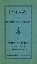 Thumbnail image of Berkeley Lodge, No. 363, Roster of 1917 Members cover