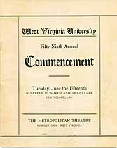 Thumbnail image of West Virginia University 1926 Commencement cover