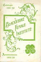 Thumbnail image of Blackstone Female Institute 1907-08 Catalogue cover