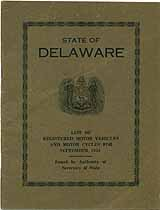 Thumbnail image of Delaware Registered Vehicles September 1924 cover