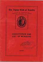 Thumbnail image of The Alpine Club of Canada 1930 Roster cover