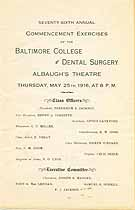 Thumbnail image of Baltimore College of Dental Surgery 1916 Commencement cover